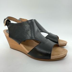 Pikolinos vigo black leather open toe wedge sandal
